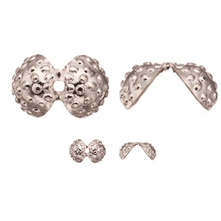 12x8mm Jet (Bead Cap, Imitation Platinum-Finished Brass, Round Bead Clip With Granulation, 12x8mm Sold per pkg of)