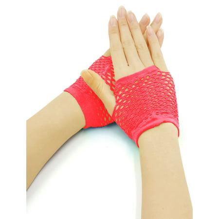 Hot Pink Gloves (Women's Wrist Length Fingerless Fishnet Gloves 2 Pairs Hot)