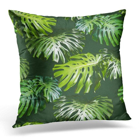 - ARHOME Pink Tropical Leaves Pattern Green Leaf Monstera Artistic Collage for Floral with Focus Effect Colorful Pillow Case Pillow Cover 20x20 inch