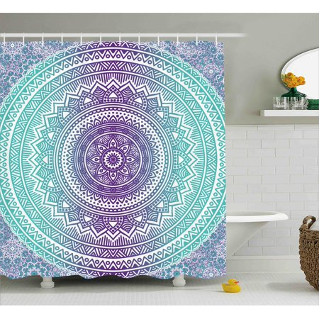 Blue And Purple Shower Curtain Mandala Ombre Eastern Mystic Abstract Old Fashion Bohemian Native Cosmos