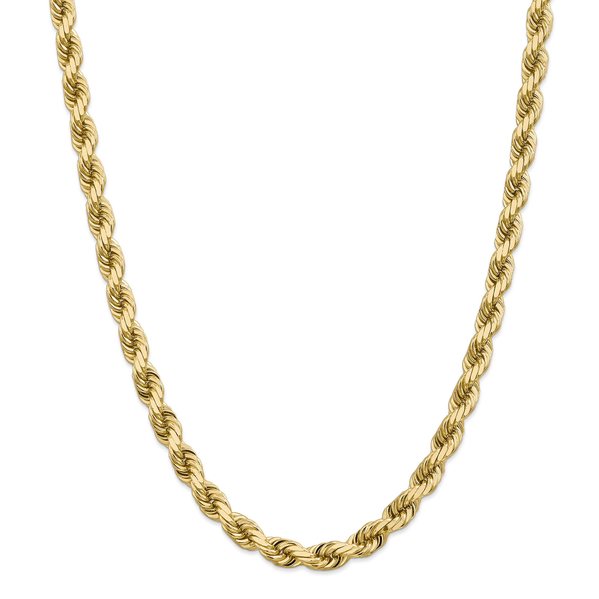 Roy Rose Jewelry 14K Yellow Gold 8mm Diamond-cut Rope Cha...
