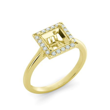 Cushion Halo Vintage Engagement Ring Semi Mount Round Diamond Solid 18k Yellow (Yellow Gold Diamond Semi Mount)