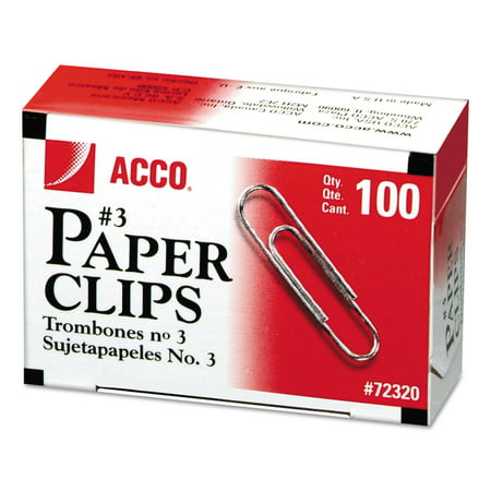 ACCO Smooth Standard Paper Clip, #3, Silver, 100/Box, 10 Boxes/Pack