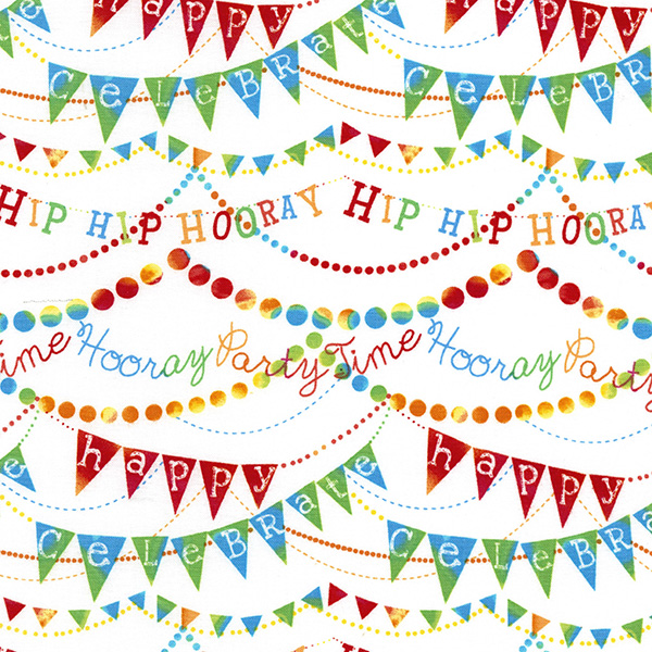 Timeless Treasures Childrens Birthday Party White Hip Hip Hooray