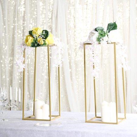 Efavormart 2 Pack Matte Gold Wedding Flower Stand Metal Vase Column Stand Geometric Vase