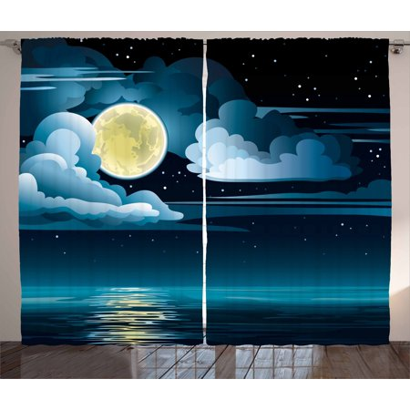 Night Curtains 2 Panels Set, Clouds Full Moon and Stars Over the Sea Romantic Fantasy Graphic Print, Window Drapes for Living Room Bedroom, 108W X 84L Inches, Black Pale Blue Eggshell, by