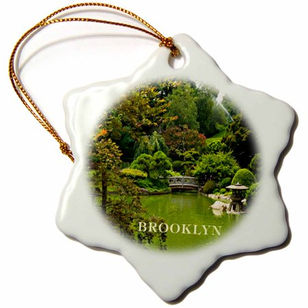 3dRose Beautiful Brooklyn Botanical Gardens, Snowflake Ornament, Porcelain, 3-inch (Botanical Gardens Brooklyn Halloween)