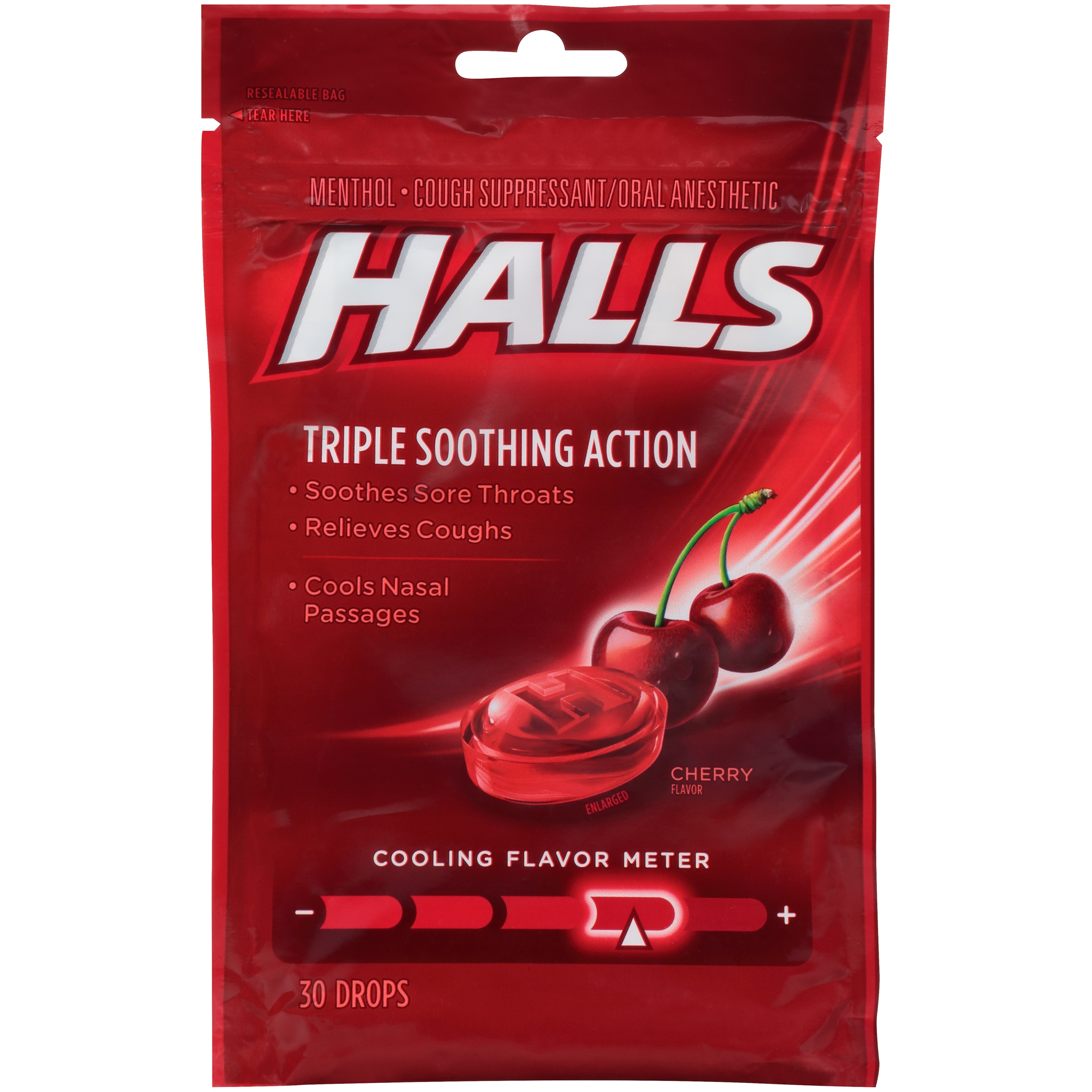 (4 Pack) HALLS Triple Action Cough Drops, Cherry, 30 Ct