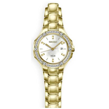 - Seiko Womens Solar Date Crystal Sport Stainless Steel Case and Bracelet Pearl Dial Gold Watch - SUT284