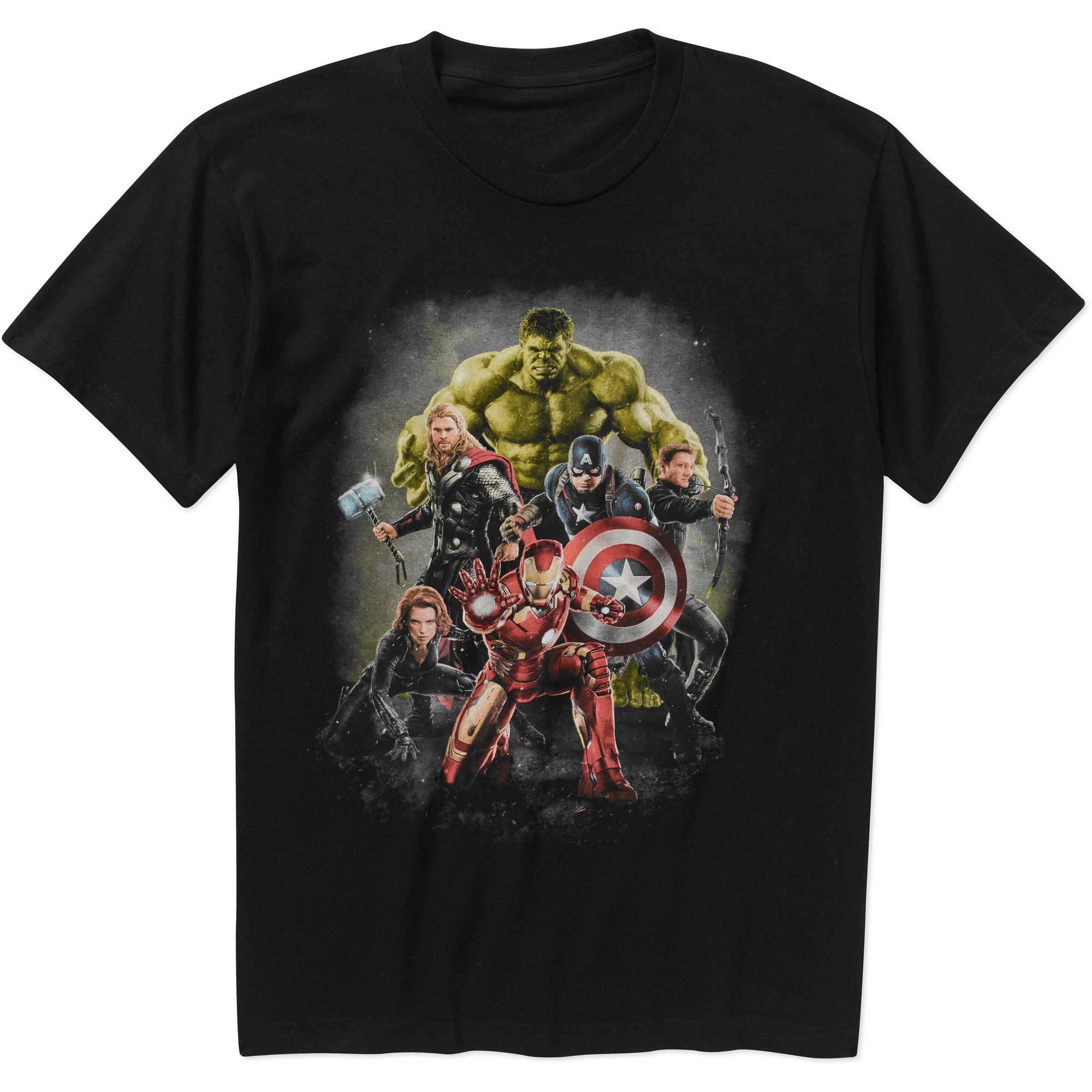 Marvel Big Men's Avengers Groupshot Short Sleeve Grphic Tee, 2XL