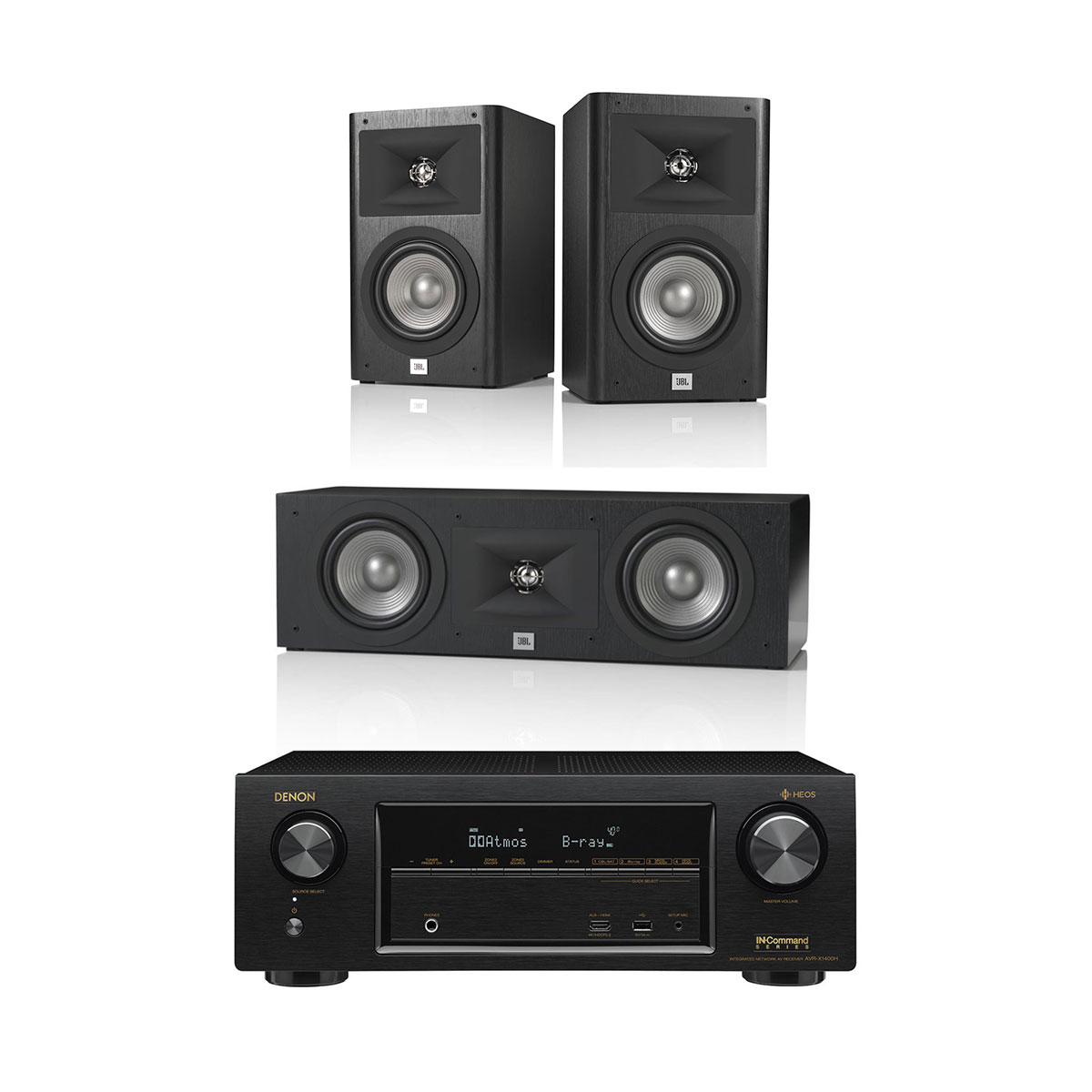 Denon AVR-X1400H 7.2 Channel AV Receiver with HEOS and JBL Studio Series 3.0 Channel Speaker System by Denon