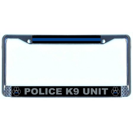 Chrome License Plate Frame - Thin Blue Line Police K9 Unit - Walmart.com