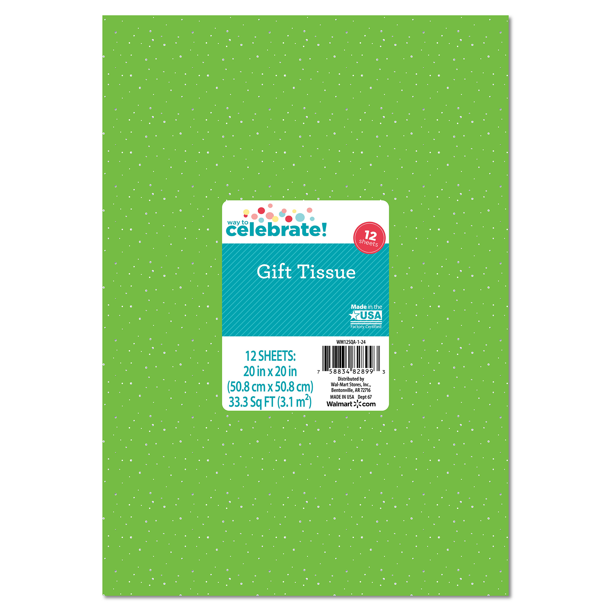 Bright Green with Silver Sequin Tissue Paper, 12pk