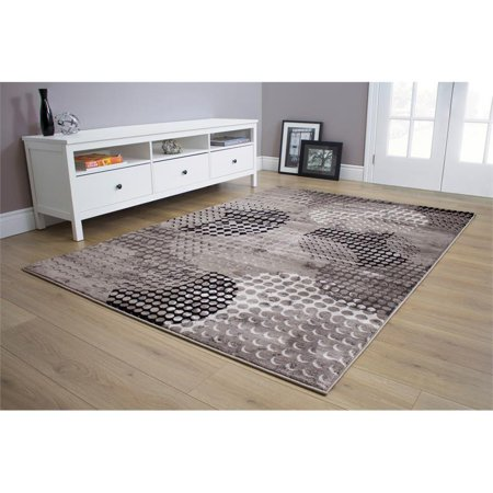 "Hawthorne Collections 7'10"" x 10'6"" Ink Pad Rug in Gray and Black"