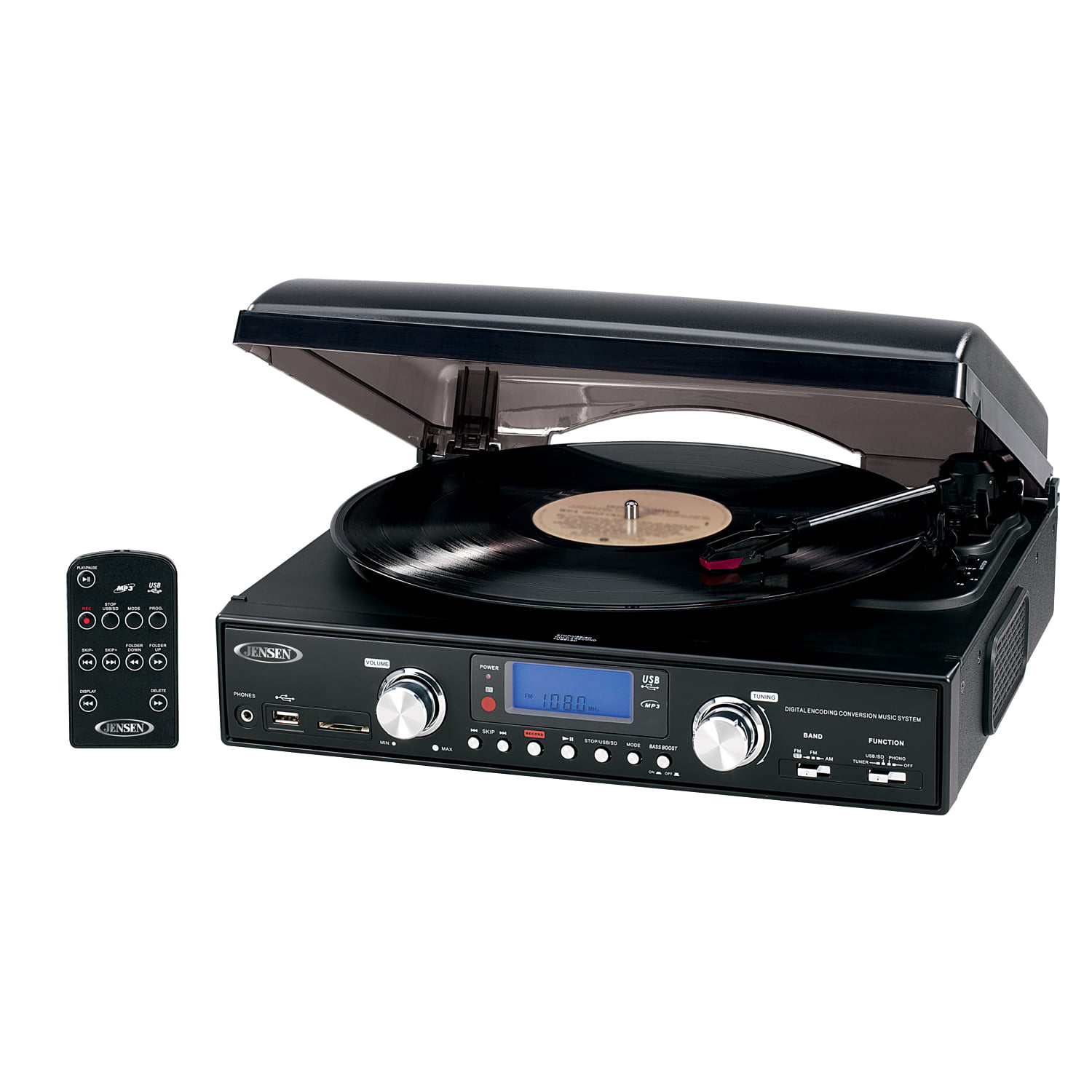 Jensen JTA-220 3Speed Stereo Turntable w// Built-In Speakers /& AM//FM Stereo Radio
