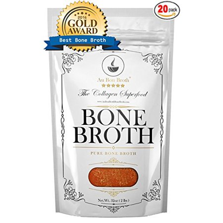 Pure Bone Broth - Organic, Grassfed, NO Sodium, NO Vegetables (Delicious Beef/Chicken/Turkey Blend) Frozen 32oz Bags, 20 Count (30 day supply/2-3 cups per day), Soup Broth Not Powder, Non-GMO Scotch Broth Soup