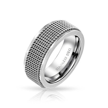 Mens Rope Chain Mail Mesh Cable Wedding Band Ring For Men For Women Silver Tone Stainless Steel 8MM - image 3 de 3