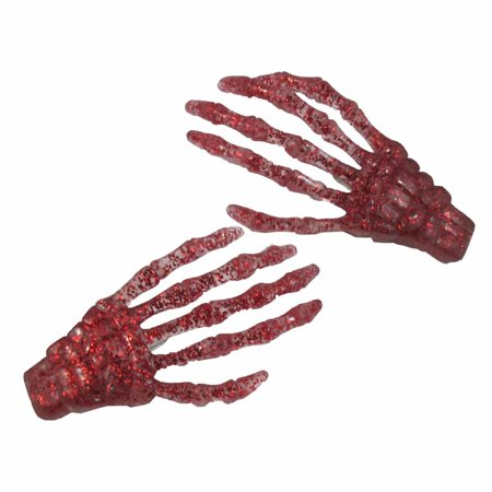 Blood Red Glitter Skeleton Hands Hair Clip Halloween Horror Accessory Kreepsville - Halloween Skeleton Hair