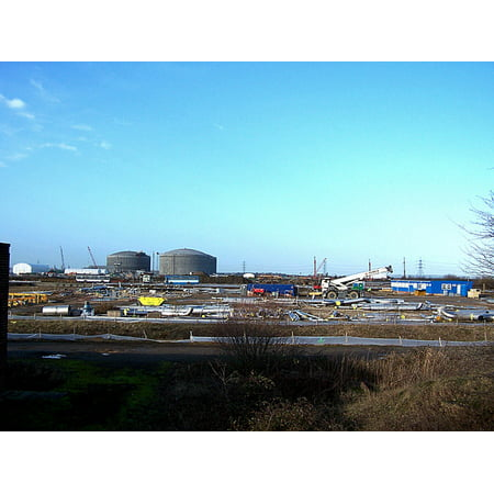 Canvas Print Industrial building site, Isle of Grain All of this is part of National Grid's liquefied natural gas Stretched Canvas 10 x 14