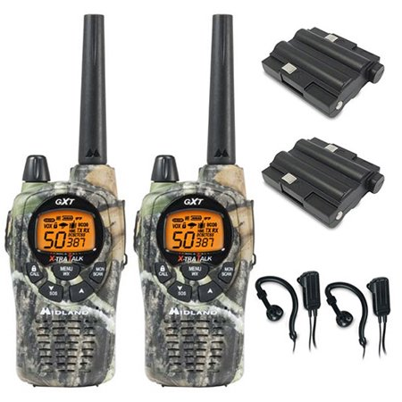 GXT1050VP4 Accessory Bundle 2Way Radio Midland GXT1050VP4 Accessory BundleBrand New Two Year Replacement WarrantyThe Midland GXT1050VP4 two way radio adds emergencyprepardness functionality to Midland's mostpowerful consumer two way radio. Each radio has 22 selectable standardchannels, plus 28 extra channels for extra privacywith 36 miles of range in open areas. It has 285privacy codes that gives you up to 6270 channel options tohelp block other conversations.The GXT1050VP4 feature JIS4 waterproof protection against light rainand splashing. NOAA local weather alerts keeps you upto date of weather conditions and whisper mode allowsfor quiet yet audible speech.GXT1050VP4 Features:Xtra Talk Two Way Radio -  Longer Range Communication In Open Areas w/ No ObstructionUp To 36 Mile RangeNOAA Weather Alert Radio with Weather Scan50 Channels & 285 Privacy CodesJIS4 Waterproof -  Protects Against Light Rain & SplashingGroup Call - Contact One Member Without Alerting Others10 Call Alerts & 5 Animal Call AlertsSOS SirenWhisper Mode -  For Quiet Yet Audible SpeakingChannel ScanSilent OperationeVOX - Hands-Free Operation -  9 LevelsBacklit Display (LCD)Vibrate AlertHI / MED / LO Power SettingsKeypad LockKeystroke TonesRoger BeepAuto SquelchMic & Headphone JacksDrop-In Charger CapableBattery Life Extender