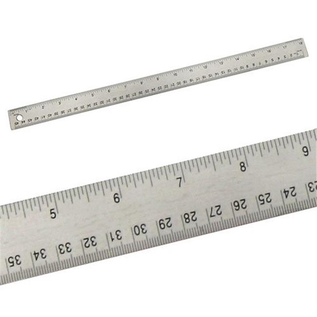 Alumicolor 8018 18 in. Stainless Steel Ruler with Cork Back in Silver