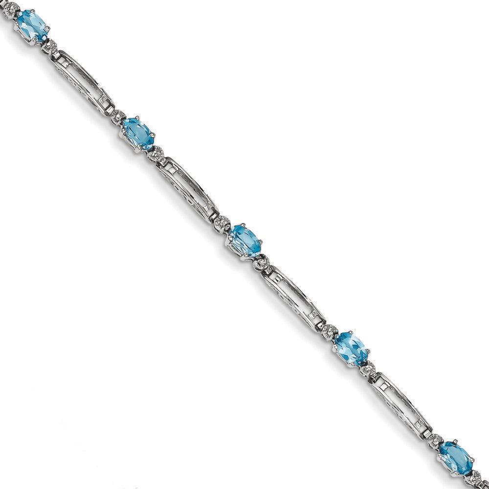 14k White Gold Fancy Diamond Blue Topaz Bracelet 7 Inch Lobster Claw by Kevin Jewelers