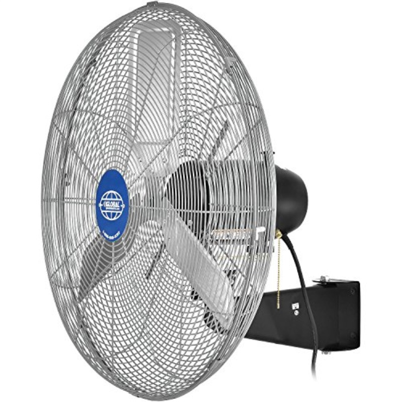 "Deluxe Oscillating Wall Mount Fan, 24"" Diameter, 1/2HP, 8,650CFM, Lot of 1"