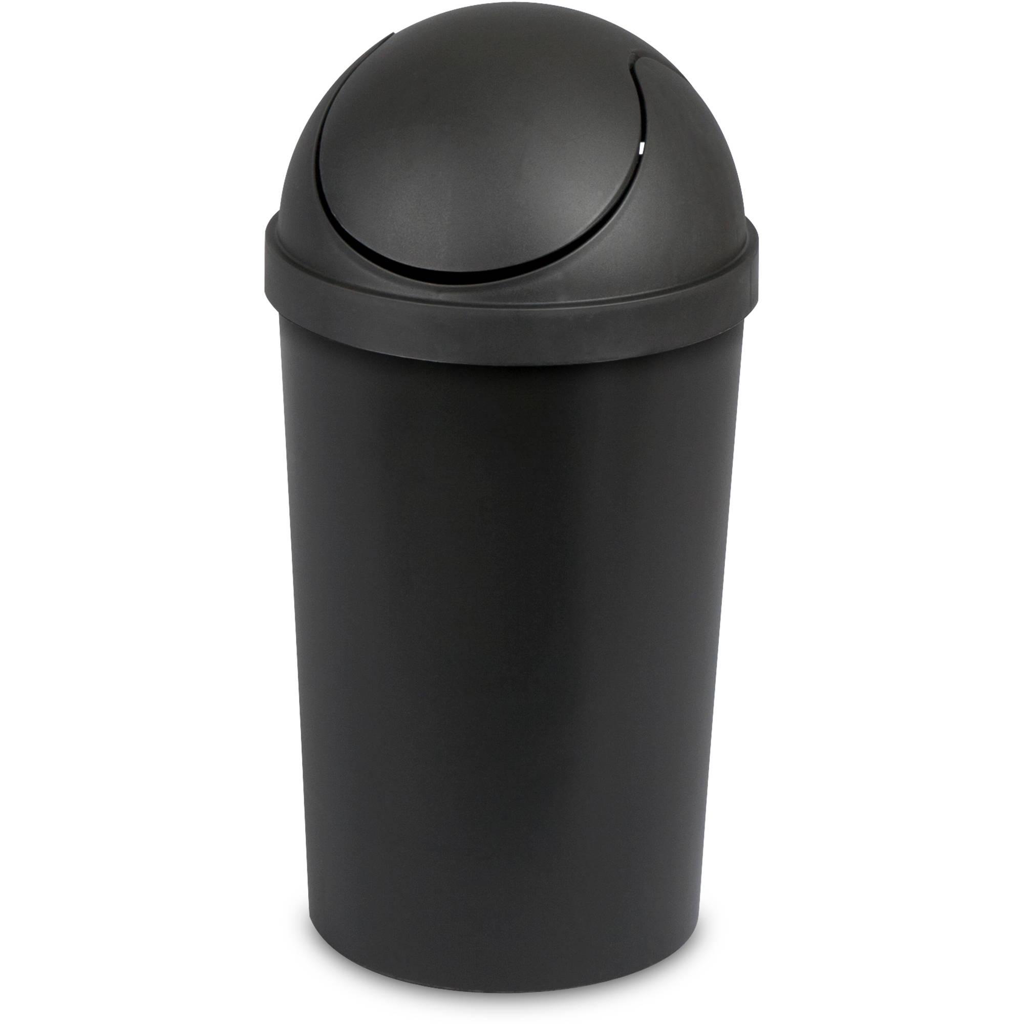 Sterilite 3-Gal Swing-Top Wastebasket, Black