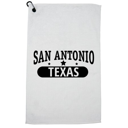 Trendy San Antonio, Texas with Stars Golf Towel with Carabiner Clip