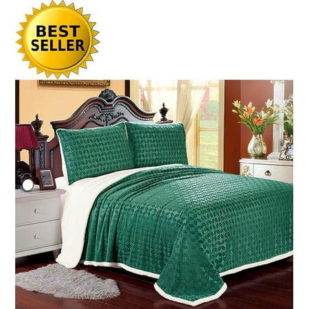 Elegant Comfort Luxury Sherpa Blanket On Amazon  Best Seller Micro Sherpa Ultra Plush Blanket   King  Turqouise