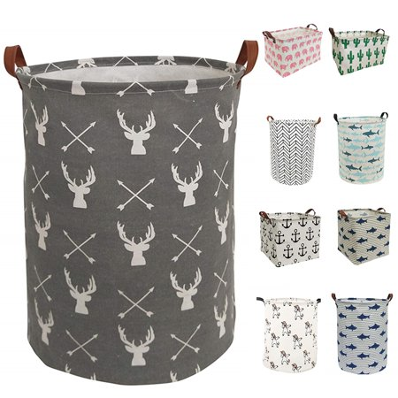 Animal Safari Hamper - Large Hamper - Large Sized Storage Baskets with Handle, Collapsible & Convenient Home Organizer Containers for Kids Toys, Baby Clothing ( Round - Grey Deer )