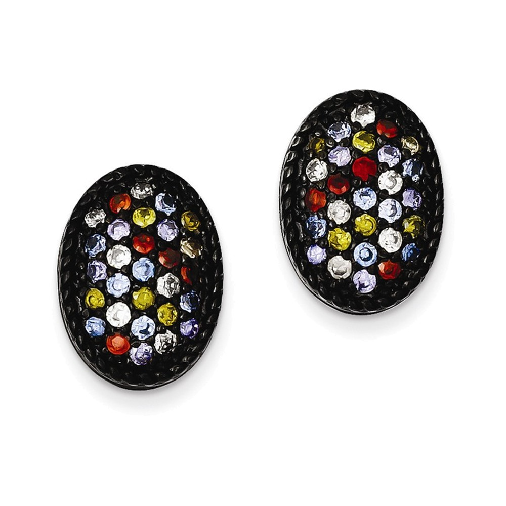 Sterling Silver Black Rhodium Multi-colored CZ Oval Post Earrings