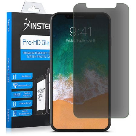 iPhone X Screen Protector, iPhone X Privacy Screen Protector, by Insten Premium Anti-Spy Tempered Glass Privacy Black Screen Guard Film Full Coverage Edge to Edge Curved 9H Hardness for Apple iPhone (Iphone Screen Went Black Wont Turn On)