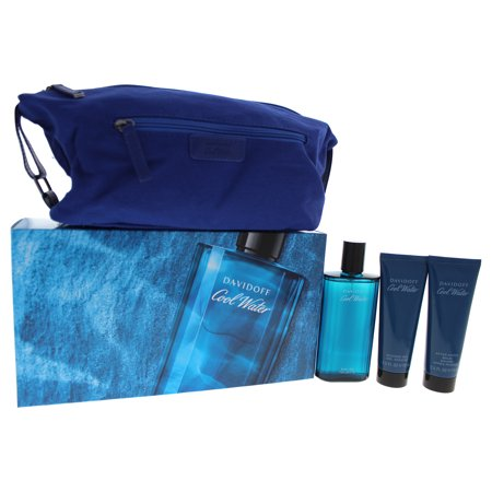 Cool Water by Zino Davidoff for Men - 4 Pc Gift Set 4.2oz EDT Spray, 2.5oz Shower Gel, 2.5oz After Shave Balm, Navy Toilet Bag