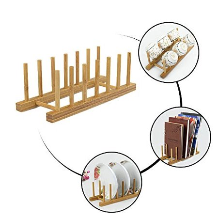 Drawer Plate (Natural Bamboo Dish Rack, Kitchen Drawer Organizer, Cutting Boars Cabinet Plate Cooking Lid Dry Display Holder, Pan Pot Bowl Food Drainer Drying Stand, Book CD Bottle Toy Cabinet Storage, Easy Install)