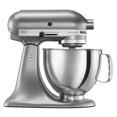 KitchenAid Artisan Series 5 Quart Tilt-Head Stand Mixer, Contour Silver (KSM150PSCU) Tilt-Head Design allows clear access to the bowl to easily add ingredients for a recipe10 Optimized Speeds powerful enough for nearly any task or recipeIncludes (1) Coated Flat Beater, (1) Coated Dough Hook, (1) Wire Whip, (1) Pouring Shield