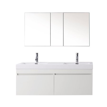 Virtu Usa Zuri 55  Polymarble Double Bathroom Vanity Cabinet Set In Glossy White