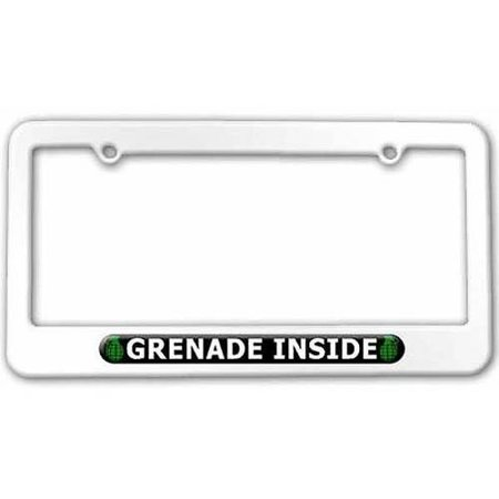 Grenade Inside License Plate Tag Frame, White (White Grenade)