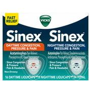 Vicks Sinex Daytime & Nighttime Congestion Pressure & Pain Liquicaps, 24 Ct