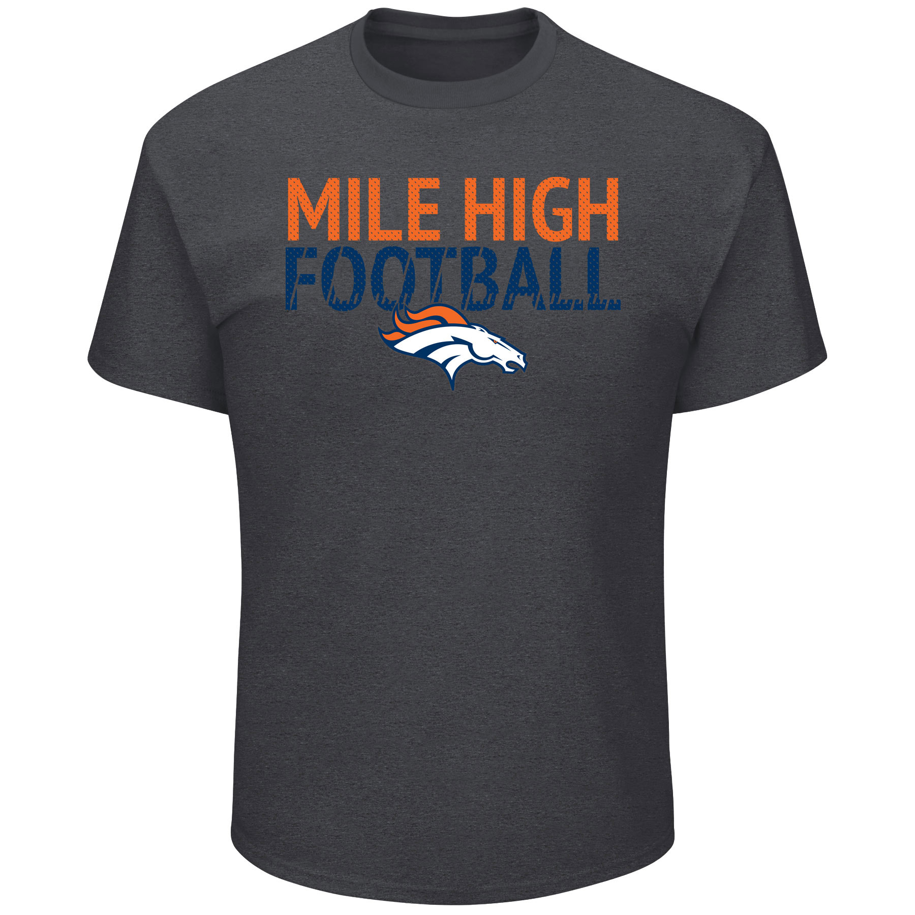 Denver Broncos Majestic Safety Blitz T-Shirt - Heathered Charcoal