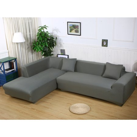 Sofa Covers for L Shape, 2pcs Polyester Fabric Stretch Slipcovers 3 ...