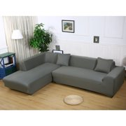 "Sofa Covers for L Shape, 2pcs Polyester Fabric Stretch Slipcovers 3 seater(70""-90"") + 3 seater(70""-90"") ,+ 2pcs Pillow Covers for Sectional sofa L-shape Couch"