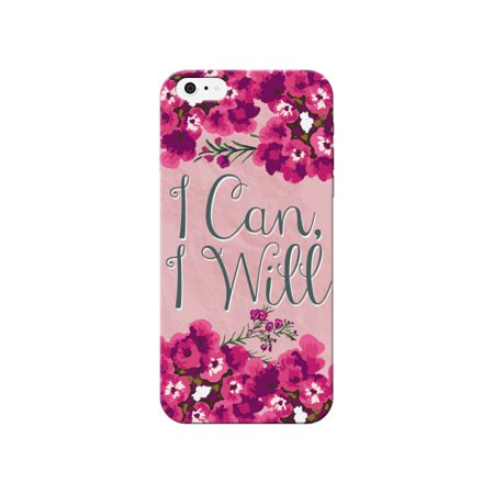 Floral Pink I Can I Will Quote Pretty Cute Phone Case - For Apple iPhone 5s / 5 Phone Back Cover (Iphone 5s Case Beach Quotes)