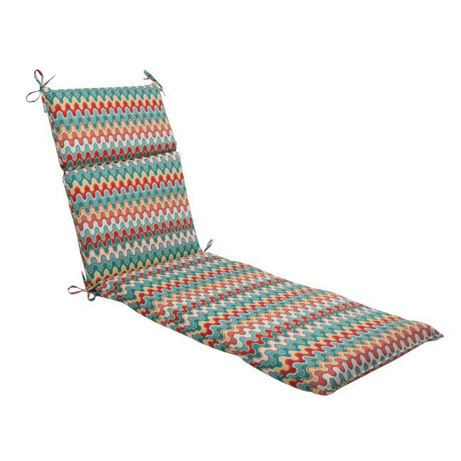 "72.5"" Moroccan Red & Turquoise Outdoor Patio Chaise Lounge Cushion"