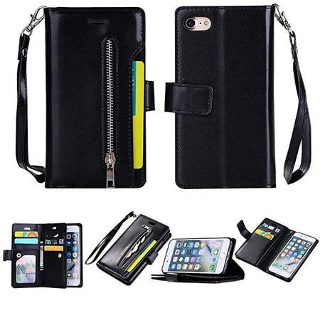 Pu Soft Case Cover (iPhone 6S Plus/ 6 Plus Zipper Wallet Case,Allytech [Magnetic Closure] Multi-Functional Handbag Stand Function Folio PU Leather Flip Cover Inner Soft TPU Case for iPhone 6S Plus/ iPhone 6 Plus, Black )