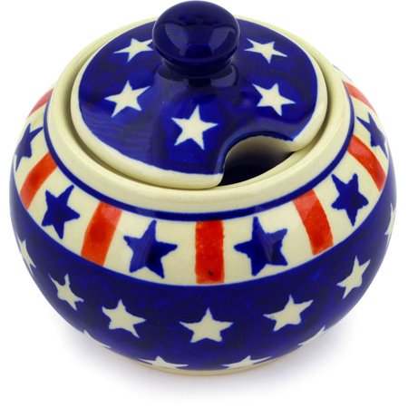 Polish Pottery 9 oz Sugar Bowl (Americana Theme) Hand Painted in Boleslawiec, Poland + Certificate of Authenticity