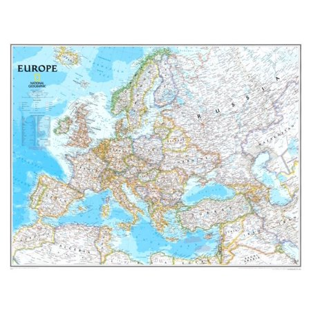 Europe Political Map Poster - 30.5x24