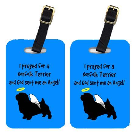 Pair of 2 Norfolk Terrier Luggage Tags