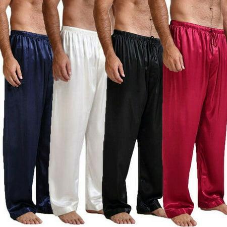 The Noble Collection Mens Silk Satin Pajamas Pyjamas Pants Sleep Bottoms Nightwear Sleepwear Trousers