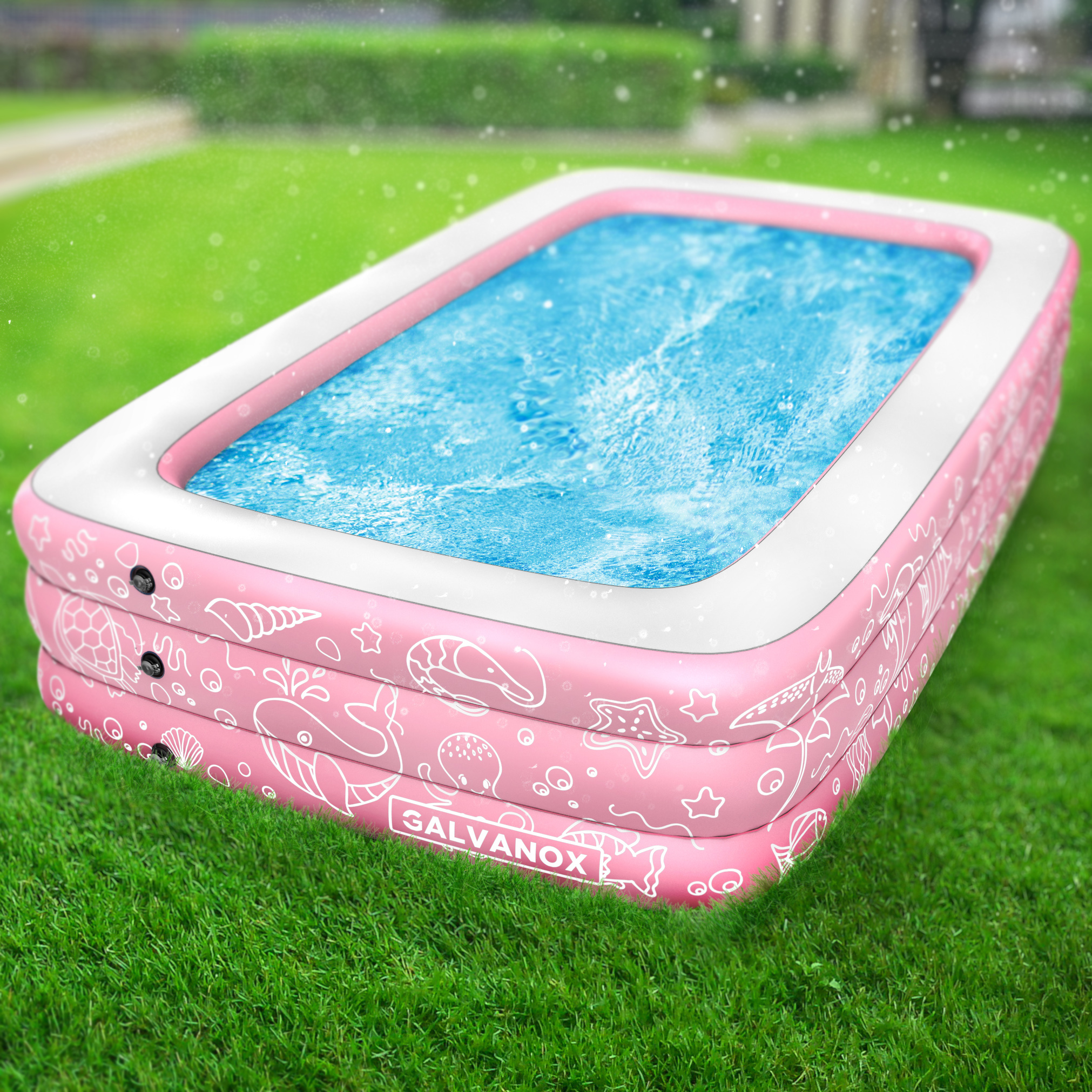 """EXTRA LARGE Inflatable Pool Above Ground Swimming Pool for Kiddie Kids 22/"""" Deep"""